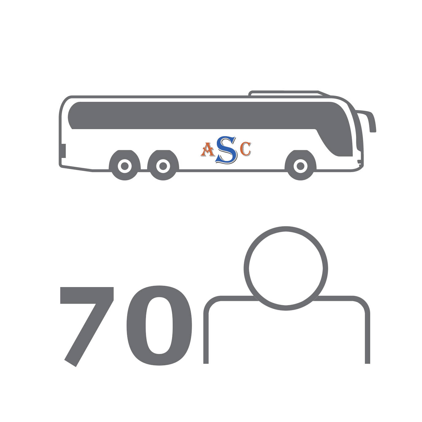 Large: 70 Seat Coach Travel: If you have a big group of people to trnasport and want to keep them all together, our 70 seater coach is the perfect option.